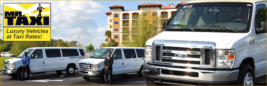 Orlando FL airport shuttle van, taxi services, and best transportation companies near Disney.